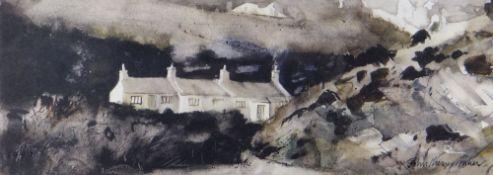 JOHN KNAPP-FISHER limited edition (136/500) print - cottages, Pembrokeshire, signed, 17 x 42cms