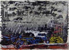 TERRY SETCH artist's proof colour print - abstract, title margin 'Penarth Car Wreck', signed, 61 x