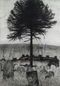 GEORGE CHAPMAN etching - entitled 'Graveyard and Monkey Puzzle Tree', circa 1962, signed fully in