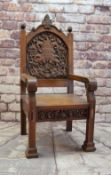 1935 EISTEDDFOD CHAIR FOR EDMONTON (NORTH LONDON) oak, carved inscription within cartouche and