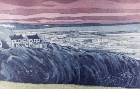 JOHN BRUNSDON artist's proof (8/15) colour etching - town panorama titled in pencil 'Swansea' with