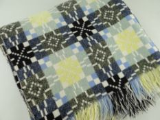 VINTAGE WELSH TAPESTRY BLANKET of geometric design, pastel colours with black, 218 x 162cms
