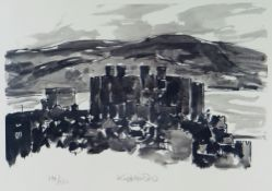 SIR KYFFIN WILLIAMS RA limited edition (194/500) print - Conwy Castle, town and river beyond, signed