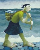 MURIEL DELAHAYE limited edition (55/275) colour print - 'The Fisherman's Daughter', signed in