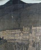 GEORGE CHAPMAN preliminary wood-block - figure on bridge in south Wales valleys town, 32 x 26cms