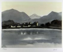 SIR KYFFIN WILLIAMS RA coloured limited edition (158/350) print - view of Caernarfon with Eryri