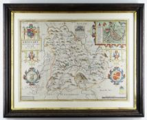 JOHN SPEED coloured antique map - Brecknoke 'Both Shyre and Towne described', dated 1610,