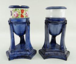TWO SWANSEA PEARLWARE ESSENCE VASES circa 1806 similarly modelled on fluted triangular bases with