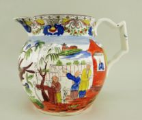 A BELIEVED SWANSEA PEARLWARE POTTERY MANDARIN JUG colourfully decorated with opposing scenes of