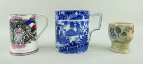 TWO POTTERY MUGS & ONE BEAKER FROM SIR LESLIE JOSEPH'S COLLECTION comprising (1) large Cambrian 'Boy