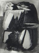 GRAHAM SUTHERLAND etching - semi-abstract / landscape, entitled verso on Mercury Gallery label '