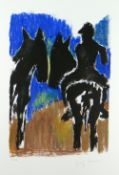 JOSEF HERMAN OBE RA limited edition (57/150) lithograph - figure on a mule with another mule to