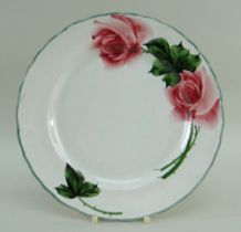 LLANELLY POTTERY ROSE PLATE, painted/printed Llanelly mark to base, 22cms diam Provenance: private