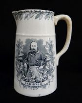 LLANELLY POTTERY TRANSFER PRINTED JUG COMMEMORATING GARIBALDI with titled pictorial portraits either