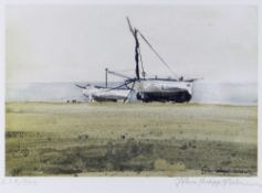 JOHN KNAPP-FISHER limited edition (278/500) print - two beached fishing boats, signed, 17.5 x