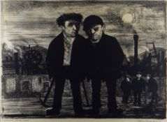 COLIN GARD ALLEN lithograph - figures in an industrial landscape, title to margin 'Miners, South