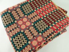 VINTAGE WELSH TAPESTRY REVERSIBLE BLANKET of geometric design, red ground with green and black