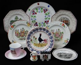 A WELSH POTTERY GROUP including small Llanelly cockerel plate, 18cms diam, pair of octagonal
