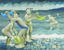 MURIEL DELAHAYE limited edition (11/195) colour print - 'At The Seaside', signed in pencil, 39.5 x