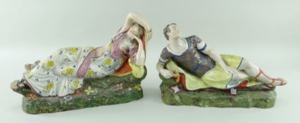 A RARE PAIR OF SWANSEA EARTHENWARE FIGURES OF ANTHONY & CLEOPATRA circa 1791, attributed to G.