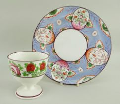 SWANSEA PEARLWARE PLATE & SWANSEA GOBLET VASE both with chocolate rim, the vase with enamelled