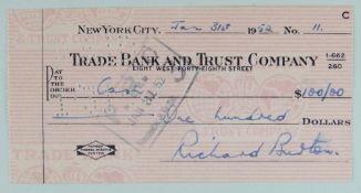 RICHARD BURTON SIGNED CHEQUE for $100 on Trade Bank and Trust Company, January 31st, 1952, 7 x 14cms