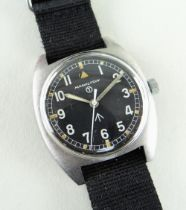 HAMILTON MILITARY ISSUE STAINLESS STEEL WRISTWATCH, c. 1977, circular black dial with broad arrow