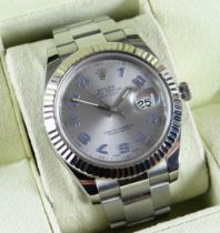 ROLEX DATEJUST II STAINLESS STEEL AND 18K WHITE GOLD AUTOMATIC CALENDAR BRACELET WATCH, ref. 116334,