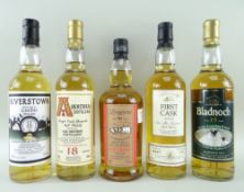 FIVE SINGLE MALT WHISKY EXPRESSIONS comprising Bladnoch aged 15 years single Lowland malt, 55%