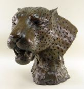 DONALD GREIG (South African, b. 1959) limited edition (9/40) bronze - Leopardo, head study of a