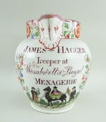 VERY RARE 'MENAGERIE' PINK LUSTRE PEARLWARE JUG, c. 1810, named for 'James Hagger, Keeper at