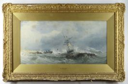 EDWARD DUNCAN R.W.S. (British, 1803-1882) watercolour - Off the Coast of Cornwall, a dramatic