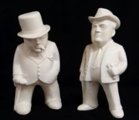 BOVEY POTTERY 'OUR GANG' FIGURES OF CHURCHILL & ROOSEVELT, former entitled 'The Boss', both in cream
