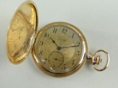 14K GOLD ZENITH SLIM HUNTER POCKET WATCH, side wind, the dial having subsidiary seconds dial and