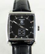 TAG HEUER MONACO WRISTWATCH, ref. WW2110-0, c. 2005, automatic calibre-6 movement, black dial with