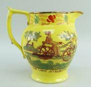 RARE STAFFORDSHIRE 'DANDY-HORSE' & 'ACCELERATOR' CANARY YELLOW PRINTED JUG, c.1820, foliate