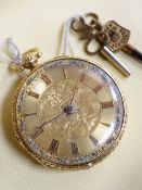 EARLY VICTORIAN 18CT GOLD OPEN FACED POCKET WATCH, having Roman numeral chapter ring, engraved