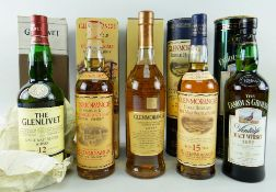 FIVE BOTTLES OF MALT SCOTCH WHISKY comprising Glenmorangie rare malt scotch whisky aged 15 years,