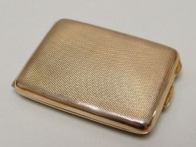 GEORGE V 9CT GOLD MATCH BOOK CASE of rectangular form, engine turned, Birmingham 1925, engraved