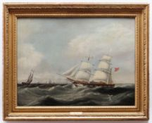 JOSEPH HEARD (British, 1799-1859) oil on canvas - Barque in two positions, in rough seas flying x-