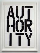 CHRISTOPHER WOOL (American, b. 1955) screenprint - 'Authority (Black Book)', 68 x 51cms