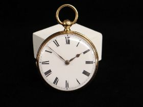 GEORGE V 18CT GOLD OPEN FACED POCKET WATCH, white enamel face with Roman numeral chapter ring, the