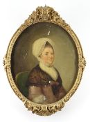 MID 18TH CENTURY BRITISH SCHOOL oil on canvas - portrait of Mrs Catherine Allix in lace cap,
