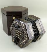 FINE LOUIS LACHENAL CONCERTINA, serial no. 10093, C. 1860s, the hexagonal, brass-inlaid rosewood