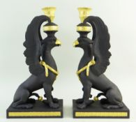 PAIR WEDGWOOD MASTERPIECE COLLECTION BLACK BASALT 'GRIFFIN' CANDLESTICKS, limited edition no. 23/