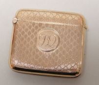 GEORGE V 9CT GOLD VESTA CASE, overall engine turned with engraved initials, Birmingham 1925, 25.0gms