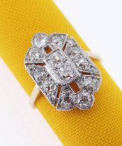 18CT GOLD & PLATINUM DIAMOND RING, of Art Deco design, ring size O, 4.7gms Provenance: private