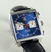 TAG HEUER MONACO CHRONOGRAPH WRISTWATCH, ref. CAW2111-0, jewelled Cal:12 automatic movement, blue