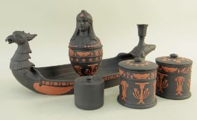 WEDGWOOD TWO-COLOUR JASPER CANOPIC INKSTAND, limited edition no. 17, in the Rosso Antico style