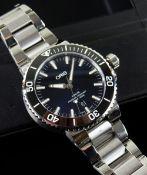 ORIS AQUIS CALENDAR BRACELET WATCH, ref. 01 733 7730, jewelled automatic 7750 movement, black dial